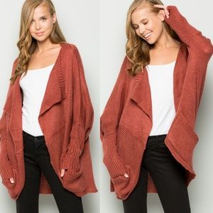 Sweaters - ELIZA Cocoon Knit Cardigan - RUST